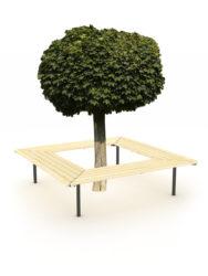 Štvorcová lavica okolo stromu