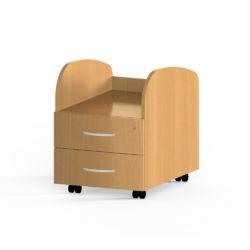 Kontajner, výška 555 mm, na kolieskach, 3-3-zásuvky, horná časť otvorená zaoblená, uzamykateľný