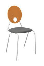 Kaleido stolička, okrúhle dekoritové operadlo a sedák, čalúnená