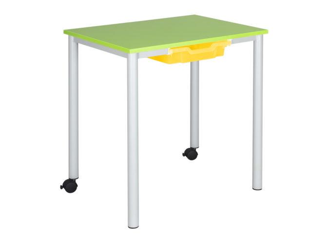Študentský stôl, na kolieskach, laminátová nezaoblená doska stola