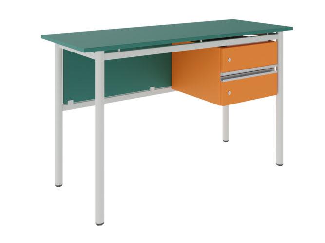 Študentský stôl s 2 zásuvkami, dekorit, rohový