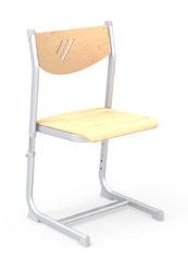 Výškovo nastaviteľná stolička, preglejkový sedák a operadlo