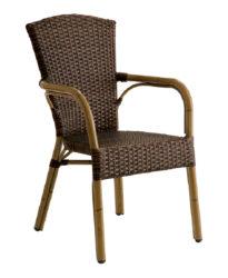 Polyratanová stolička s podrúčkami