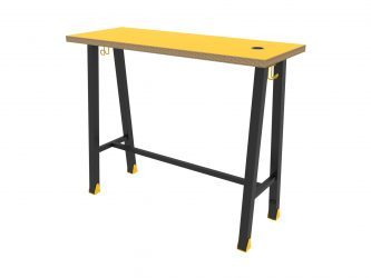 barový stôl, dekoritom potiahnutá preglejka