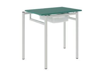 Študentský stôl so zásuvkami, laminátová nezaoblená doska stola