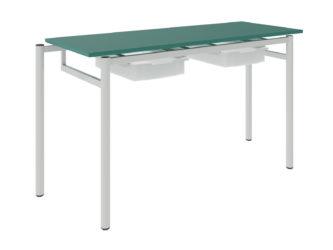 Študentský stôl so zásuvkami, dekoritová nezaoblená doska stola