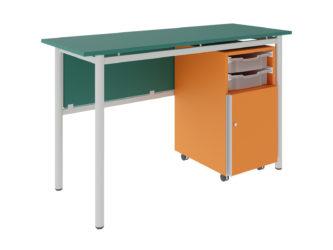 Študentský stôl, 2 zásuvky, 1 dvierka, dekorit, rohový