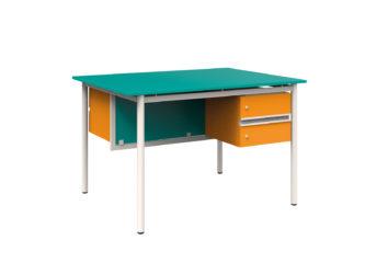 obojstranný učiteľský stôl, 2 zásuvky, laminátová doska, nezaoblená